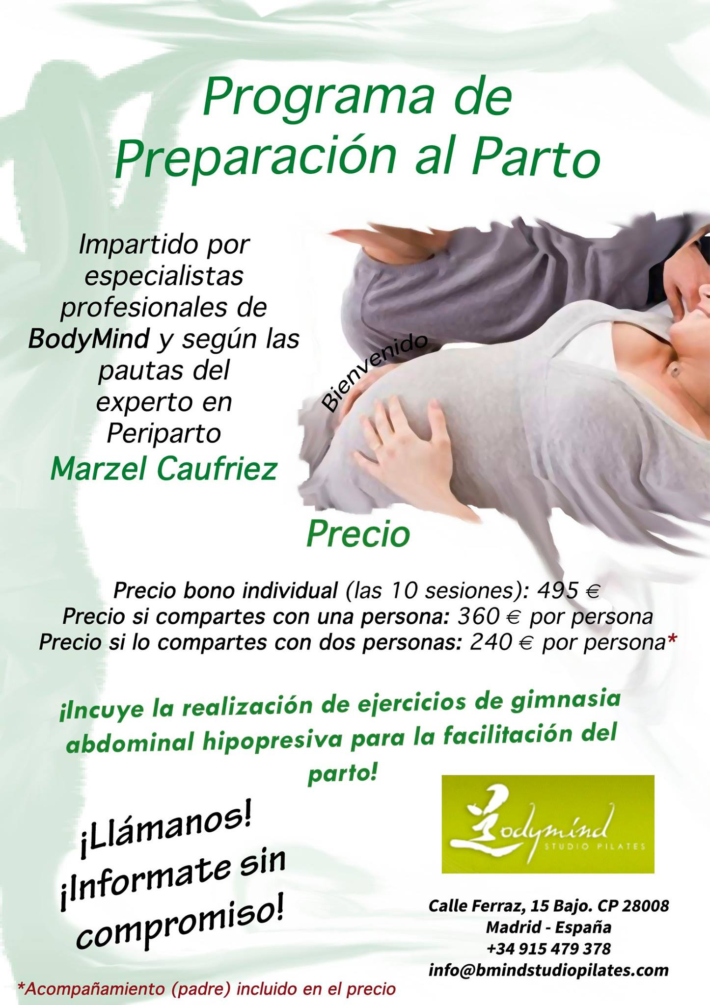 Curso de preparación al parto Bodymind Studio Pilates